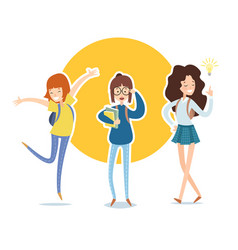 set of diverse students in flat cartoon style vector image