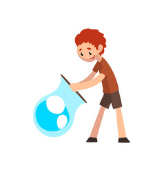 smiling boy blowing big soap bubble with ring vector image