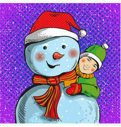 snowman and boy in pop art vector image