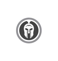 spartan helmet logo template icon design vector image