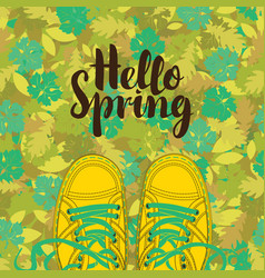 spring banner with inscription and yellow shoes vector image