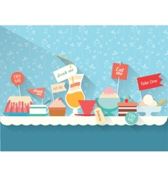 Sweets and dessert on the table vector