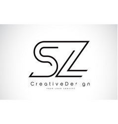 Sz s z letter logo design in black colors vector