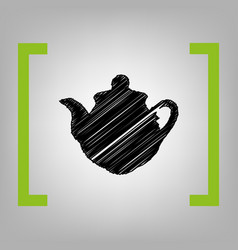 tea maker sign black scribble icon in vector image