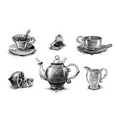 tea set tea accessories and tea utensils vector image