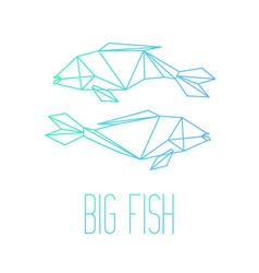 Two fishes line art with inscription Big Fish vector
