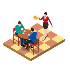 two men sit at the table and wait for the waitress vector image