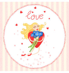 Valentine card with Woman heart flies vector
