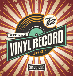 Vinyl record shop retro sign design vector