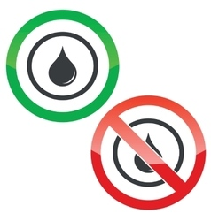 Water drop permission signs vector