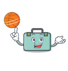 With basketball suitcase character cartoon style vector