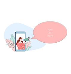 woman character in phone shouting in loudspeaker vector image