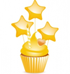 yellow birthday cupcake vector image