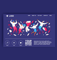 your mood matters landing page with dancing vector image