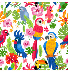 zoo jungle pattern a tropical bird background vector image