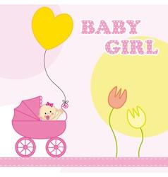 baby girl birthday card vector image vector image