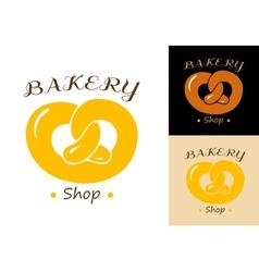Pretzel bakery emblem vector image