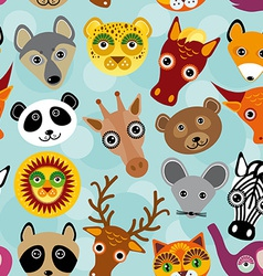 Seamless pattern with funny cute animal face on a vector image vector image