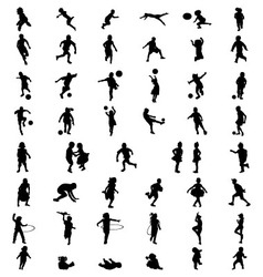 silhouettes of children vector image vector image