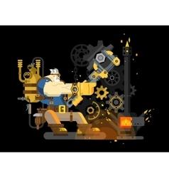Steam engineer working vector