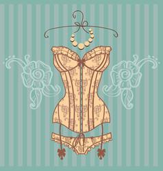 vintage sexy guipure corset vector image vector image