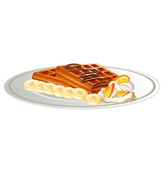 Waffle and banana on the plate vector image