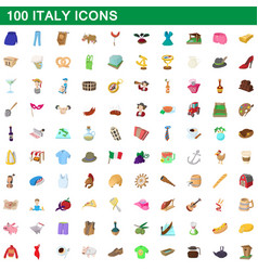 100 italy icons set cartoon style vector image vector image