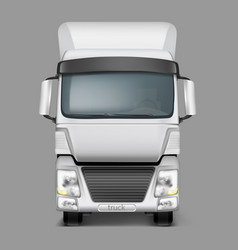 3d realistic cargo truck front view vector image vector image