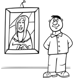 man in art gallery coloring page vector image