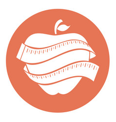 Apple fruit with tape measure vector