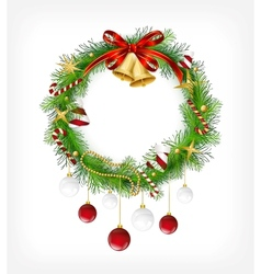 Christmas garland with bells and holly berry vector image vector image