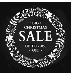 Christmas sale banner Hand drawn chalkboard vector image