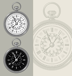 Vintage watch and clock face vector