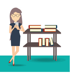 woman reading on a mobile phone vector image