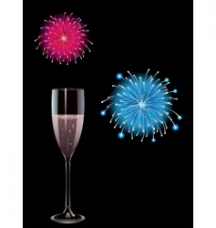 champagne and fireworks vector image vector image