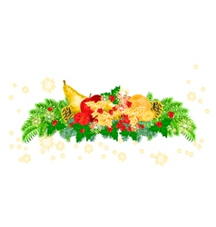 Christmas decoration with fruit and pine cones vector image