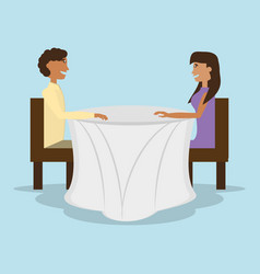 couple sitting in restaurant table vector image