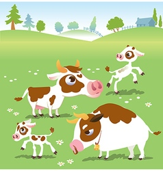 Farm animals in set cows vector image vector image