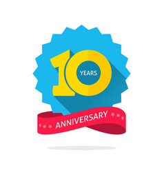 10 years anniversary logo template with shadow vector