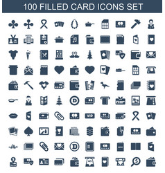 100 card icons vector