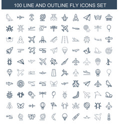 100 fly icons vector image