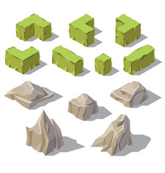 3d isometric green bushes stones rocks vector image