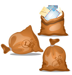 a set of canvas bags of letters and parcels in vector image