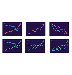 Abstract chart with two arrows moving up and down vector