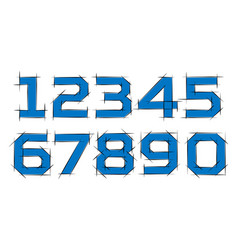 Arabic numerals set 1-10 blue figures vector
