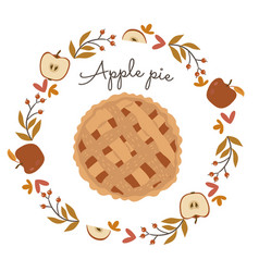 autumn wreath and apple pie isolate on white vector image