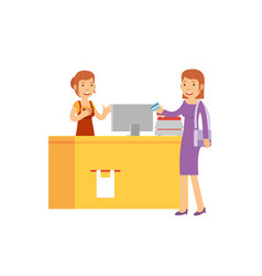 beautiful cashier are serve the customer in the vector image
