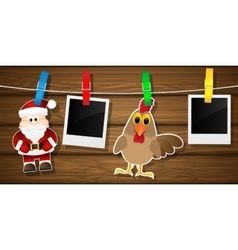 Blank photo frames rooster and santa claus on a vector