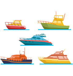 boats and yacht flat set vector image