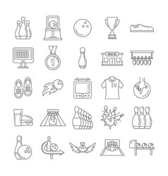 Bowling kegling game icons set outline style vector